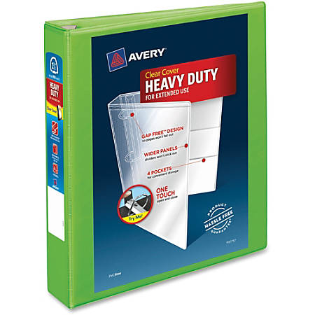 "Avery® Heavy-Duty View Binder With Locking EZD Rings, 1 1/2"" Rings, 41% Recycled, Chartreuse"