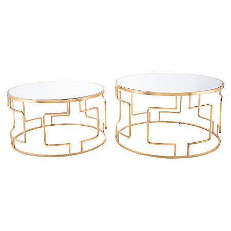 Zuo Modern King Accent Tables, Round, Mirror/Gold, Set Of 2 Tables