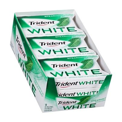 Trident® White Spearmint Sugar-Free Gum, 16 Pieces Per Box, Pack Of 9 Boxes  Item # 9280471