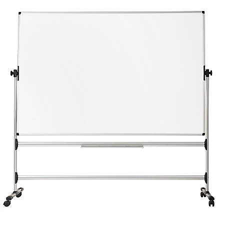 """MasterVision® Earth Easy Clean Revolving Mobile Easel, 47 1/4"""" x 70 13/16"""", Silver"""
