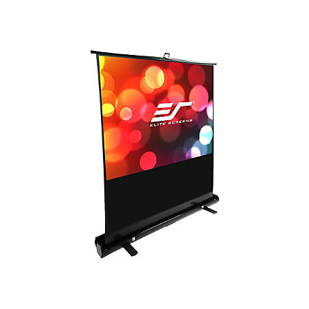 Elite Screens ezCinema Plus Series F74XWH1 - Projection screen with floor stand - 74 in (74 in) - 16:9 - MaxWhite - black