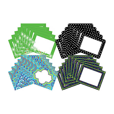 """Barker Creek Name Tags, 3 3/4"""" x 2 1/2"""", Italy/Go Green/Moroccan/Dot, 45 Name Tags Per Pack, Case Of 4 Packs"""