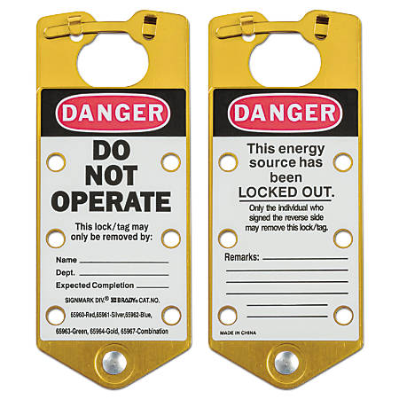 Labeled Lockout Hasps, 3 in W x 7 1/4 in L, Gold