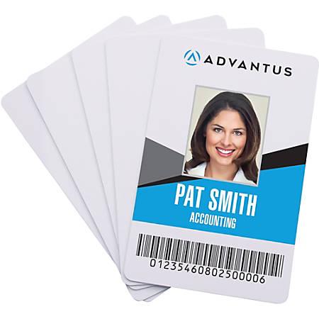 "Advantus Blank PVC ID Cards - Printable - 2.13"" Width x 3.38"" Length - 100 - White - Polyvinyl Chloride (PVC)"