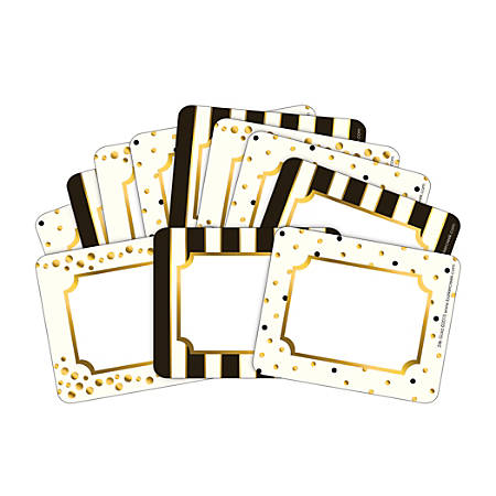 """Barker Creek Name Tags, 3 3/4"""" x 2 1/2"""", Gold, 45 Name Tags Per Pack, Case Of 2 Packs"""