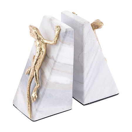 """Zuo Modern Iguana Bookends, 5 15/16""""H x 3 1/8""""W X 2 5/8""""D, White/Gold, Set Of 2 Bookends"""