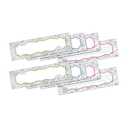 """Barker Creek Double-Sided Name Plates, 12"""" x 3 1/2"""", Color Me Garden, Pack Of 72 Name Plates"""