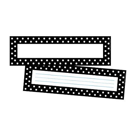 """Barker Creek Double-Sided Name Plates, 12"""" x 3 1/2"""", Black/White Dot, Pack Of 72 Name Plates"""