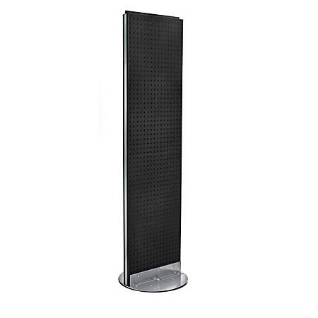 "Azar Displays 2-Panel Pegboard Floor Display, 60"" x 16"", Black"