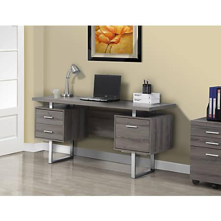Monarch Specialties Retro-Style Computer Desk, Dark Taupe