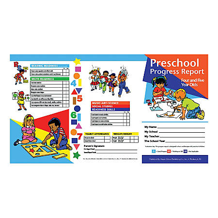 Hayes Preschool Progress Report Cards, Age 4-5, 10 Report Cards Per Pack, Set Of 6 Packs