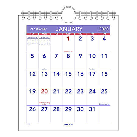 """AT-A-GLANCE® Mini Monthly Wall Calendar, 7"""" x 8"""", Blue/Red, January To December 2020, PM528"""