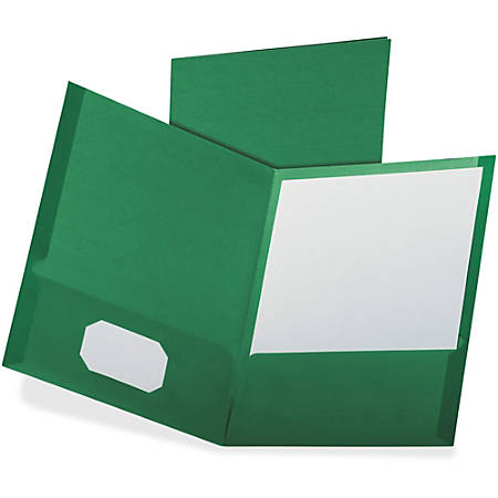 "Oxford Linen Twin Pocket Portfolio - Letter - 8 1/2"" x 11"" Sheet Size - 100 Sheet Capacity - 2 Pocket(s) - Dark Green - Recycled - 25 / Box"