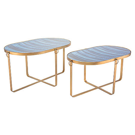 Zuo Modern Zaphire Accent Tables, Oval, Blue/Antique Gold, Set Of 2 Tables