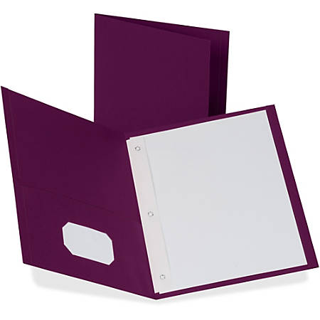 "Oxford® Twin-Pocket Portfolio With Fasteners, 8 1/2"" x 11"", Burgundy, Pack Of 25"