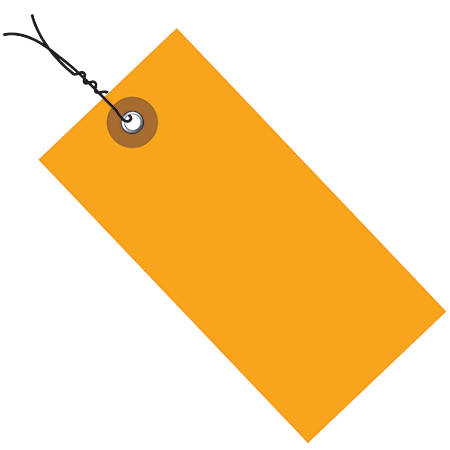 "Office Depot® Brand Tyvek® Prewired Shipping Tags, 5 1/4"" x 2 5/8"", Orange, Pack Of 100"