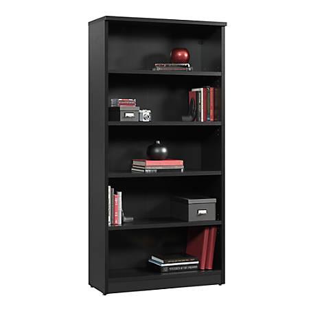 Sauder® Via 5-Shelf Library, Bourbon Oak/Soft Black