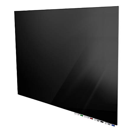 """Ghent Aria 4'H x 5'W Magnetic Low Profile 1/4"""" Glassboard, Horizontal, Black, 4 Rare Earth Magnets, 4 Markers & Eraser"""