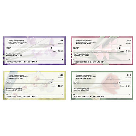 "Personal Wallet Checks, 6"" x 2 3/4"", Singles, Soft Petals, Box Of 150"