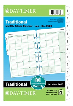 Daytimer Calendar December 2020 Sizes Day Timer Classic Monthly Refill Desk Size 5 12 x 8 12 January to