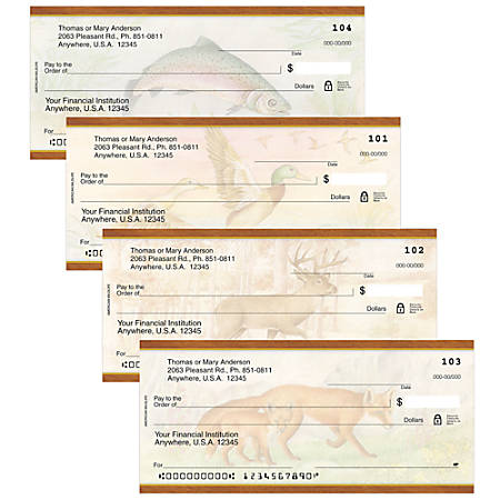 "Personal Wallet Checks, 6"" x 2 3/4"", Singles, American Wildlife, Box Of 150"