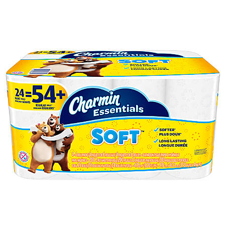 Charmin® Essentials Soft™ Bathroom Tissue, 2-Ply, White, 200 Sheets Per Roll, Pack Of 24 Rolls