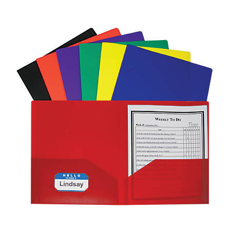 C-Line® 2-Pocket Poly Portfolios, Assorted Colors, Pack Of 36