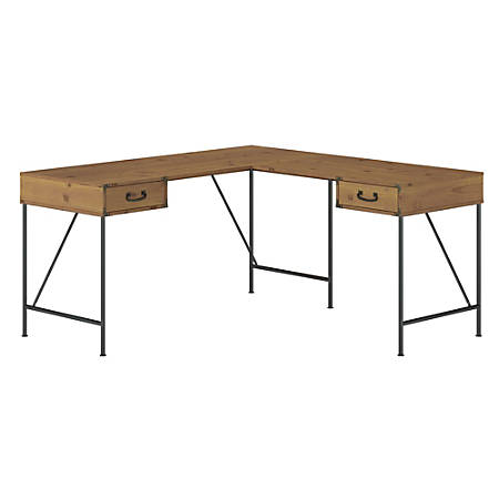"""Kathy Ireland® Home by Bush Furniture Ironworks 60""""W L-Shaped Writing Desk With Drawers, Vintage Golden Pine, Standard Delivery"""