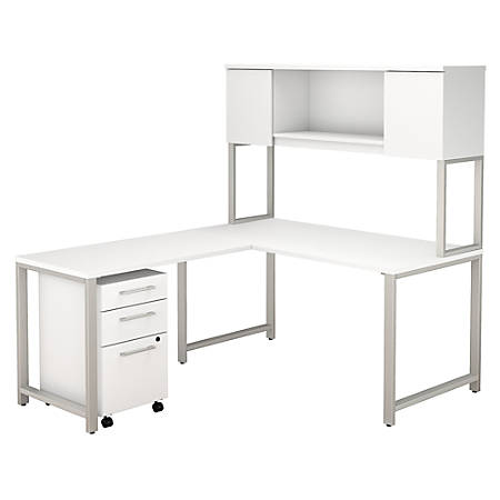 """Bush Business Furniture 400 Series 60""""W x 30""""D L Shaped Desk with Hutch, 42""""W Return and 3 Drawer Mobile File Cabinet, White, Premium Installation"""