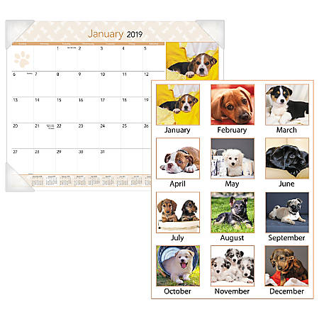 """AT-A-GLANCE® Puppies Desk Pad Calendar, 22"""" x 17"""", January to December 2019"""