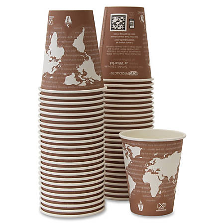 Eco-Products Renewable Resource Hot Drink Cups - 50 / Pack - 8 fl oz - 500 / Carton - Multi - Polylactic Acid (PLA), Resin, Paper, Biopolymer, Plastic - Hot Drink, Coffee, Tea