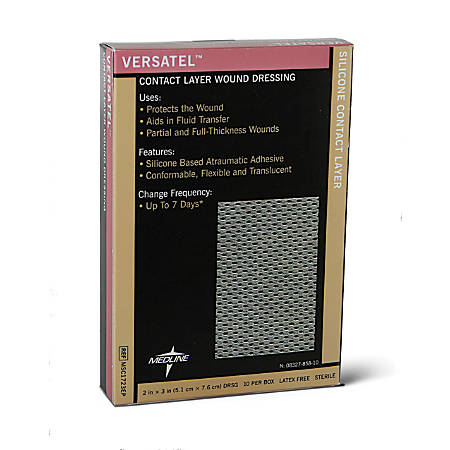 """Versatel Contact Layer Dressings, 2"""" x 3"""", Translucent, 10 Dressings Per Box, Case Of 5 Boxes"""