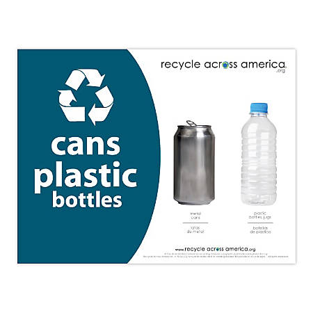 "Recycle Across America Cans And Plastics Standardized Recycling Labels, CP-8511, 8 1/2"" x 11"", Dark Teal"