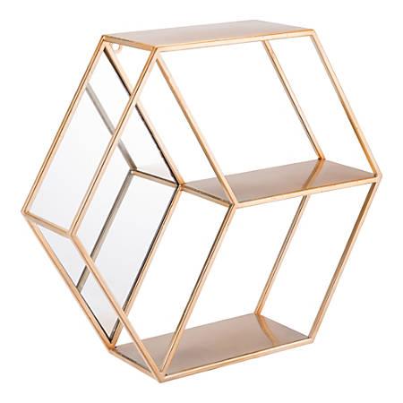 """Zuo Modern Bee Steel Hexagonal Shelf, 2 Shelves, 16 15/16""""H x 19 3/4""""W x 5 1/8""""D, Gold"""