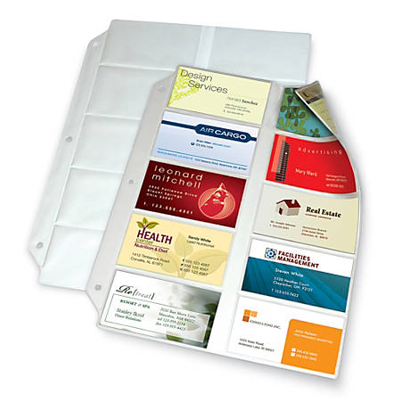 "Office Depot® Brand Business Collection Card File Binder Refill Pages, 8 1/2"" x 11"", Pack Of 10"