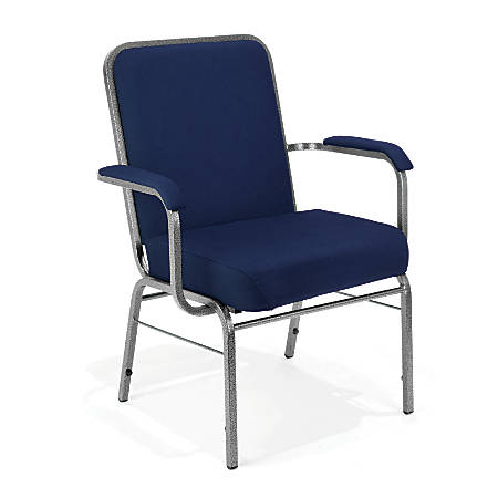 OFM Big And Tall Comfort Class Series Arm Chairs, Navy/Silver, Set Of 4