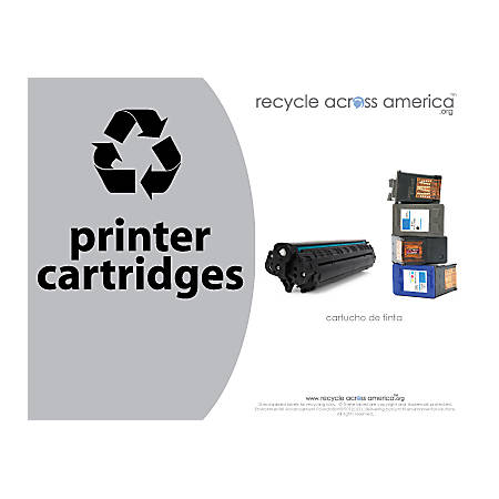 "Recycle Across America Ink And Toner Cartridges Standardized Recycling Labels, CART-8511, 8 1/2"" x 11"", Gray"