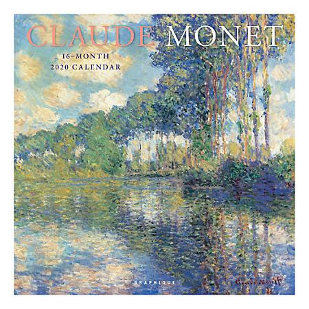 "Graphique de France Monthly Wall Calendar, 12"" x 12"", FSC® Certified, Monet, January to December 2020"