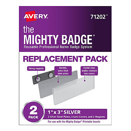 """Avery® 71202 The Mighty Badge Professional Replacement Name Badges, 1"""" x 3"""", Silver, Pack Of 2 Badges"""