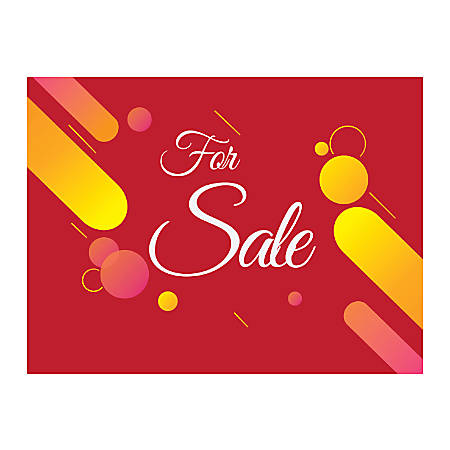 Plastic Sign, For Sale Red, Horizontal