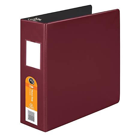 """Wilson Jones® Heavy-Duty Binders, 3"""" No-Gap D-Rings, 42% Recycled, Dark Red"""