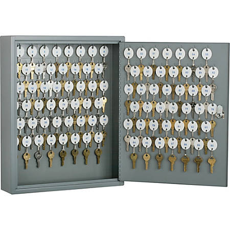 """SKILCRAFT Key Cabinet - 17.3"""" x 14"""" x 3.3"""" - Hinged Door(s) - Cylinder Lock, Scratch Resistant, Corrosion Resistant - Gray - Baked Enamel - Steel - Recycled"""