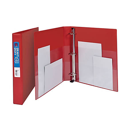 """Avery® Heavy-Duty Binders With One-Touch EZD™ Ring, 8 1/2"""" x 11"""", 1"""" Rings, 45% Recycled, Red"""