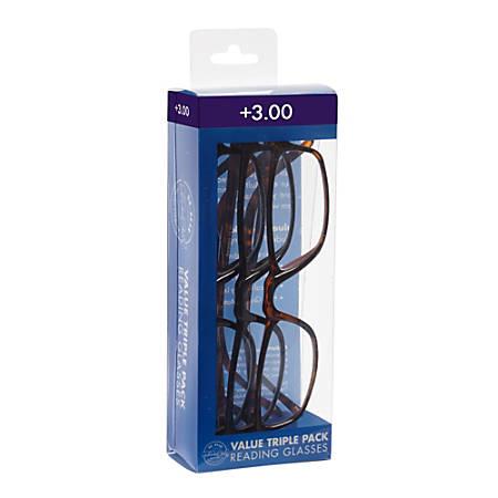 ICU Eyewear Rectangular Reading Glasses Set, Plastic, +3.00, Pack Of 3