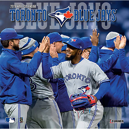 """Turner Sports Monthly Wall Calendar, 12"""" x 12"""", Toronto Blue Jays, January to December 2019"""