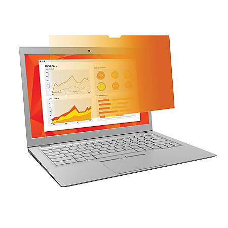 """3M™ Gold Touch Privacy Filter For 14"""" Laptops, Gold/Black, Reduces Blue Light, GF140W9E"""
