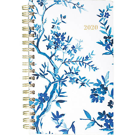 AT-A-GLANCE® Cambridge Elle Monthly Planner, 2-Year, Pocket Size, Blue/White
