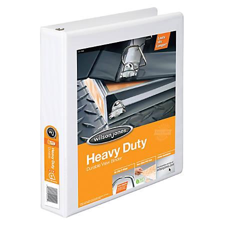 "Wilson Jones® Heavy-Duty View Binders, 385, With No-Gap D-Rings, 1 1/2"" Rings, 48% Recycled, White"
