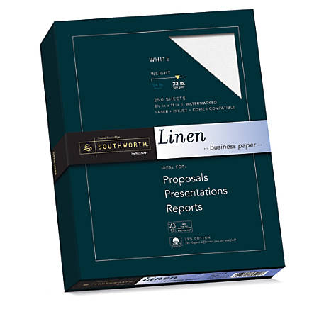 """Southworth® 25% Cotton Linen Business Paper, 8 1/2"""" x 11"""", 32 Lb, 55% Recycled, FSC® Certified, White, Box Of 250"""
