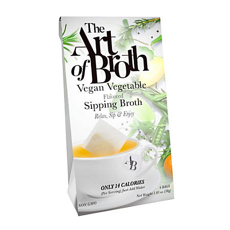 The Art of Broth Vegan Vegetable Flavored Sipping Broth, Box Of 6 Bags